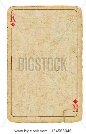 empty old used playing card king of diamonds paper background with line and symbols