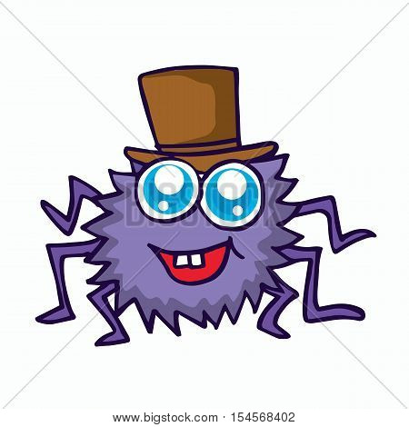 funny spider cartoon for t-shirt design vector illustration