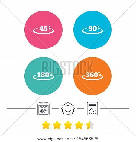 Angle 45-360 degrees icons. Geometry math signs symbols. Full complete rotation arrow. Calendar, cogwheel and report linear icons. Star vote ranking. Vector poster