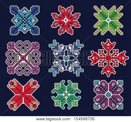 Vector Illustration of Ugly sweater Xmas Patches elements for Design, Website, background, Banner. Merry Christmas Knitted Retro Stickers with snowflake Template