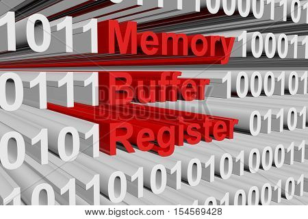 Memory buffer register in the form of binary code, 3D illustration