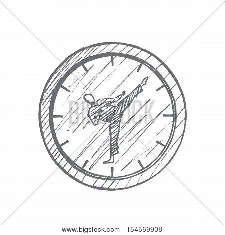 Vector hand drawn Fight clock concept sketch. Clock with hitting karateka instead of clock hands