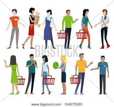 Set of customers and sellers characters vector templates. Flat style design. Man and woman making purchases and sell goods. Supermarket personnel, consumer choice and shopping in mall concept.