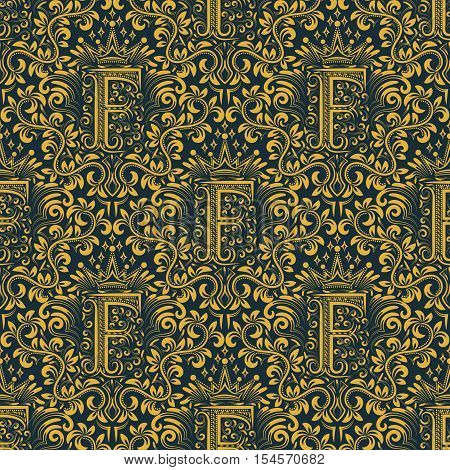 Damask seamless pattern repeating background. Gold blue floral ornament with F letter and crown in baroque style. Antique golden repeatable wallpaper.
