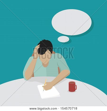 Young businessman thinking and writing. Man in light blue shirt sitting at the table with empty dialog window. Man pensive and worried. Isolated object in flat design on white background.