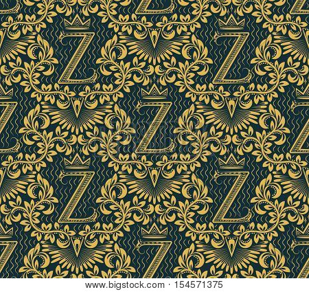 Damask seamless pattern repeating background. Gold blue floral ornament with Z letter and crown in baroque style. Antique golden repeatable wallpaper.