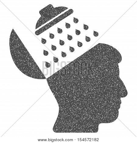 Propaganda Brain Shower grainy textured icon for overlay watermark stamps. Flat symbol with dirty texture. Dotted vector gray ink rubber seal stamp with grunge design on a white background.