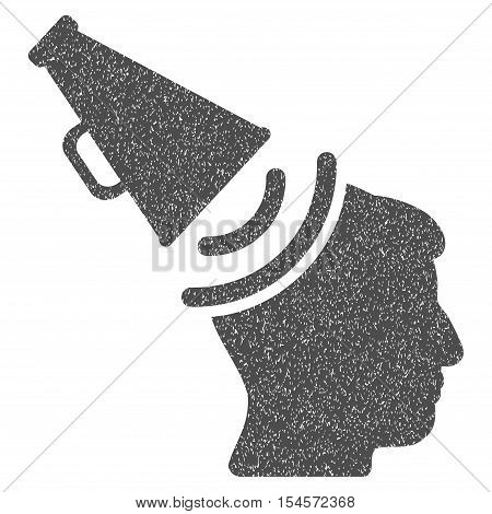 Propaganda Megaphone grainy textured icon for overlay watermark stamps. Flat symbol with dirty texture. Dotted vector gray ink rubber seal stamp with grunge design on a white background.