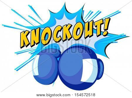 Expression knockout and boxing gloves illustration