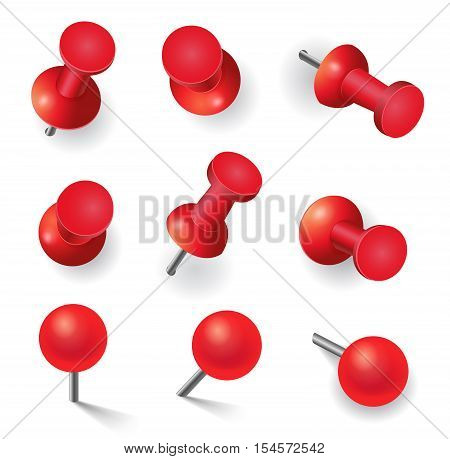 Realistic vector illustration set of different red pins isolated on white