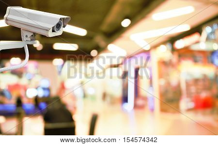 CCTV Camera on abstract blur beautiful luxury shopping mall for background.