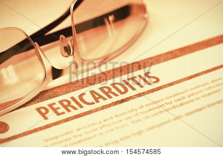 Diagnosis - Pericarditis. Medical Concept with Blurred Text and Glasses on Red Background. Selective Focus. 3D Rendering.