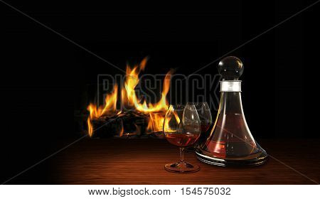 cozy still life with aperitif or digestif carafe and fire place