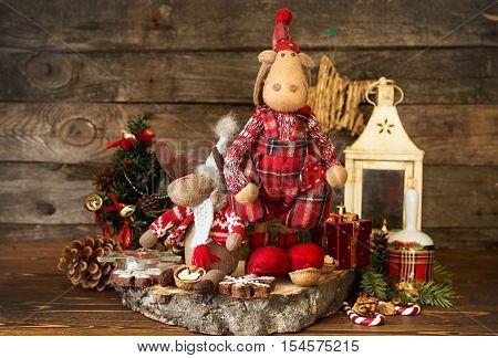 Christmas Decorations. Elks, Lantern, Gingerbread Cookies, Walnuts, Christmas Bell