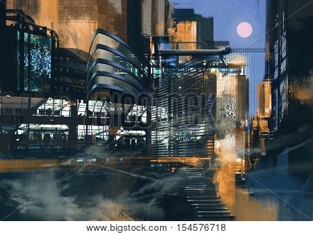 digital painting of futuristic sci-fi city, illustration art