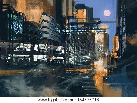 digital painting of futuristic sci-fi city, illustration art