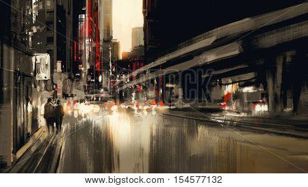 urban city street digital painting, illustration art