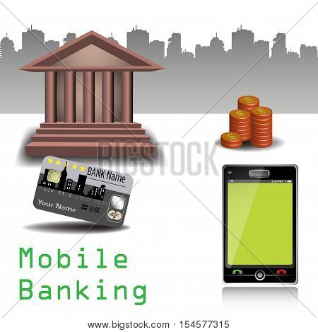 Colorful background with bank building, credit card, stack of coins and a smartphone. Mobile banking concept
