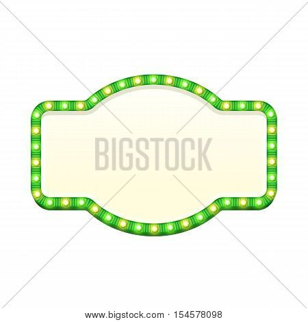 Blank 3d retro light sign with shining bulbs isolated on white background. Green street signboard with yellow and green marquee lights. Advertising frame with glow. Colorful vector illustration