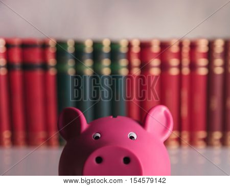 closeup picture of a pink piggy bank in front of a row of books in studio