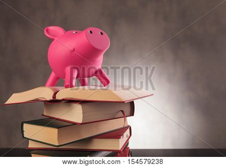 pink piggy bank standing on top of a pile of books - school pays off concept