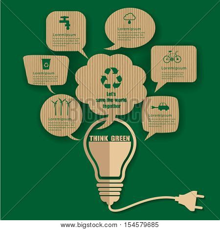 Vector infographic elements.bulb speech bubble talk with think green renewable energy and sustainable development.Ecology Recycling concept design.Can used for banner presentation brochure leaflet