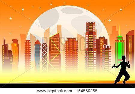 Hong Kong city skyline flat background.Vector illustration