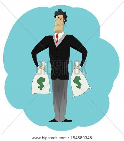 Businessman holding money bags. Win concept, wealth, profits. Vector