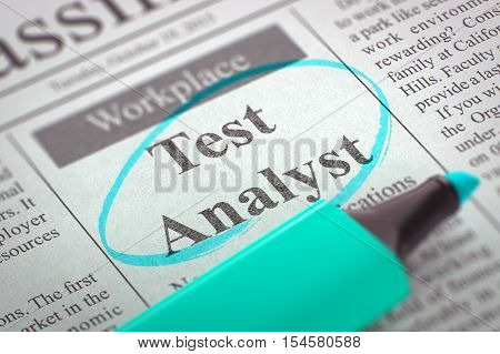 Test Analyst. Newspaper with the Job Vacancy, Circled with a Azure Marker. Blurred Image. Selective focus. Job Seeking Concept. 3D Rendering.