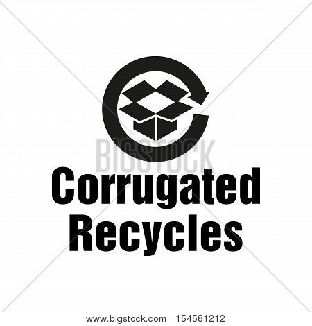 Corrugated Recycles symbol on the packaging. Vector