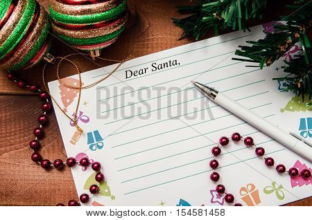 Letter to Santa Claus. Dear Santa. Christmas and New Year card