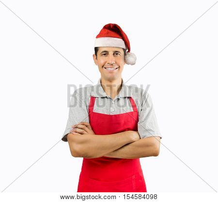 portrait of shopman with santa hat isolated on white background