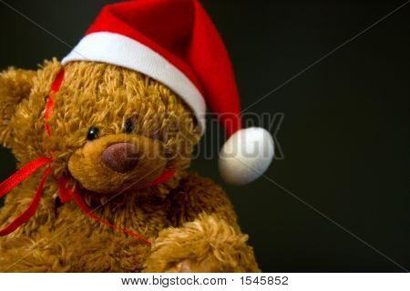 Christmas Teddy Bear Close Up On Black Background