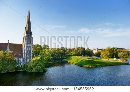 St Alban's church in Copenhagen Denmark on summer day
