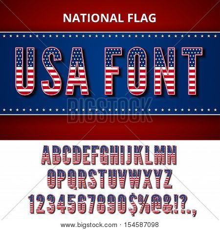 USA Flag Font. Alphabet, numbers and symbols stylised by Unites State of America national Flag. Vector set