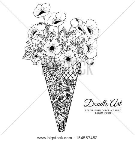 Vector illustration Zen Tangle, ice cream with poppies. Doodle drawing. Coloring book anti stress for adults. Black and white.