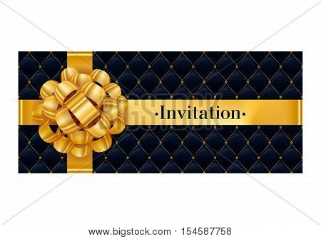 VIP party premium invitation card poster flyer. Black and golden design template. Quilted pattern decorative background with gold ribbon and gift bow.