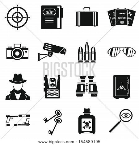 Spy tools icons set. Simple illustration of 16 spy tools travel vector icons for web