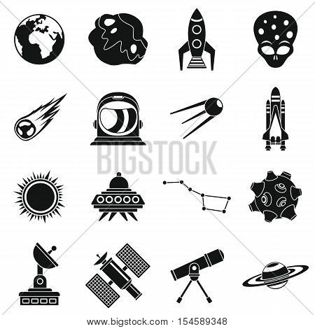 Space icons set. Simple illustration of 16 space travel vector icons for web