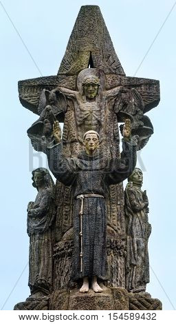 Francis of Assisi sculpture beside Church of San Francisco in Santiago de Compostela (Spain)
