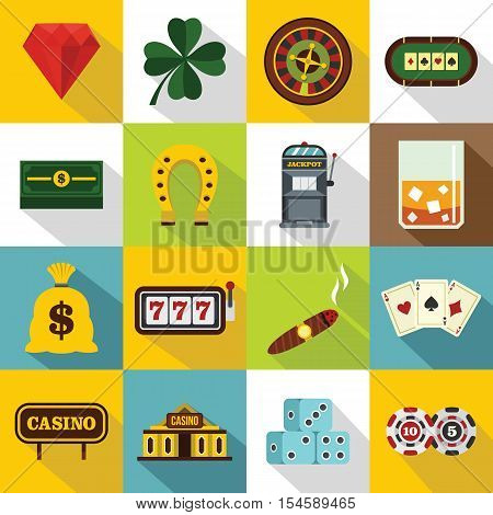 Casino icons set. Flat illustration of 16 casino vector icons for web