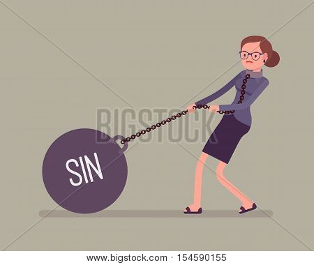 Businesswoman dragging a giant heavy weight on chain, written Sin on a ball. Cartoon vector flat-style concept illustration