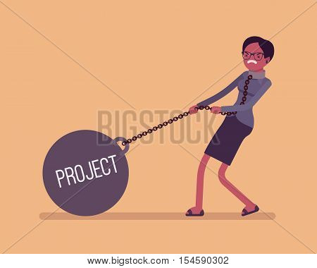 Businesswoman dragging a giant heavy weight on chain, written Project on a ball. Cartoon vector flat-style concept illustration