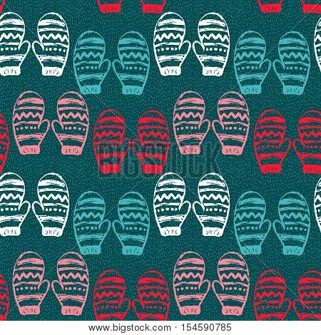 Seamless pattern with hand drawn mittens. Vector holiday endless background