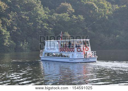 Wroxham Norfolk United Kingdom - October 25 2016: Large tour boat on trip along Norfolk Broads