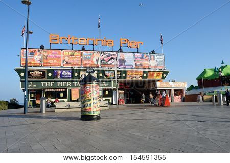 Great Yarmouth Norfolk United Kingdom - October 25 2016: Front of Britannia pier with posters of upcoming acts