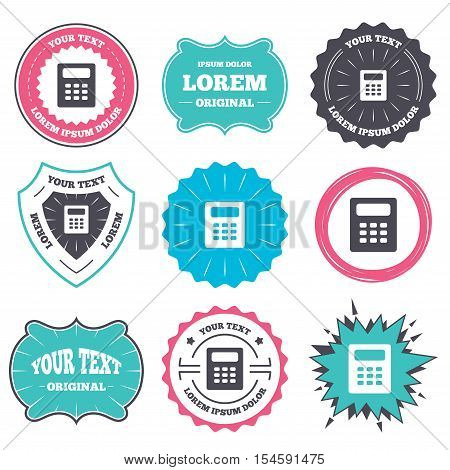 Label and badge templates. Calculator sign icon. Bookkeeping symbol. Retro style banners, emblems. Vector