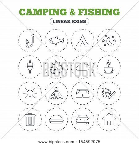 Camping and fishing icons. Tourist tent, fire and match symbols. Coffee cup and hamburger. Car and house. Fish, hook and float bobber thin outline signs. Round flat buttons with linear icons. Vector