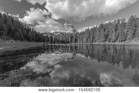 Beautiful dolomites mountains in italy. Antorno lake.