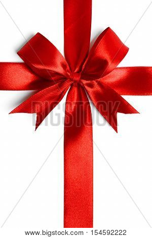 red ribbon with tails isolated on white background